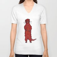 otter V-neck T-shirts featuring Otter by Michalacaney