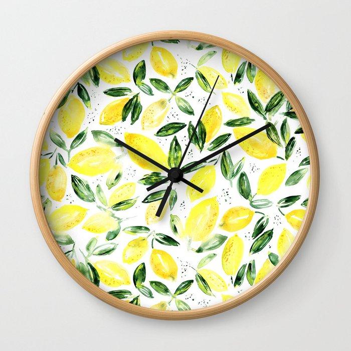 So luscious lemons    watercolor Wall Clock