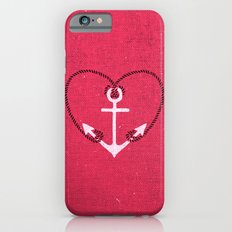Fuschia Pink Vintage White Anchor Girly Love Heart Slim Case iPhone 6s