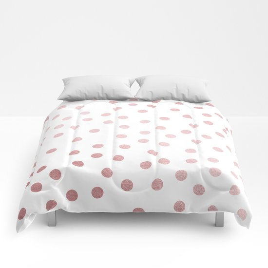 Simply Dots In Rose Gold Sunset Comforters By Simple Luxe
