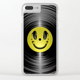 Vinyl headphone smiley Clear iPhone Case
