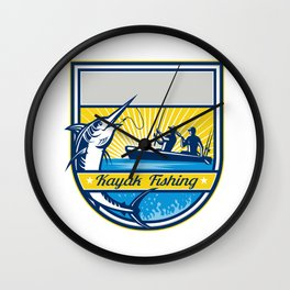 Kayak Fishing Blue Marlin Badge Wall Clock