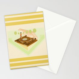 the girl who was roller skating on a record player... Stationery Cards