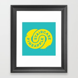 PineappleStaircase   Official Logocolor 2015 in Turquoise/Yellow Framed Art Print