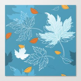 Lovely blue sky illustration with autumn leaves pattern  Canvas Print