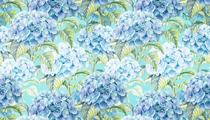 Blue floral hydrangea flower flowers Vintage watercolor pattern Pillow Sham