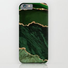 Beautiful Emerald And Gold Marble Design iPhone Case