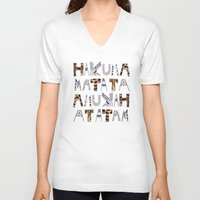 hakuna V-neck T-shirts featuring ANUKAH Atatam (two)  by Vasare Nar