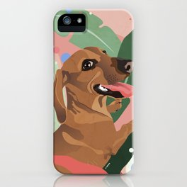 Dachshund puppy with palm leaves in bold colors iPhone Case