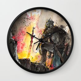 Dark Souls Bonfire with a Warrior Japanese calligraphy Wall Clock