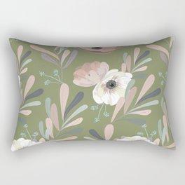Anemones & Olives - Green Rectangular Pillow
