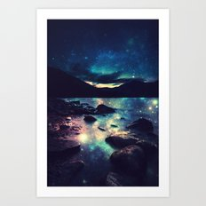 Magical Mountain Lake : Deep Pastels Teal Mauve Art Print