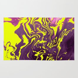 Yellow, Purple and Pink Intertwine; Fluid Abstract 50 Rug