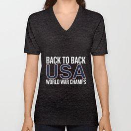 back to back usa world war champs america t-shirts Unisex V-Neck
