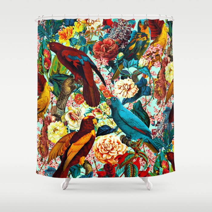 FLORAL AND BIRDS XV Shower Curtain