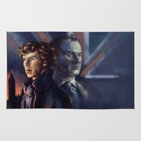 sherlock holmes Area & Throw Rugs featuring The Holmes' brothers - Sherlock by Alea Lefevre