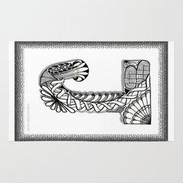 Zentangle J Monogram Alphabet Initials Rug