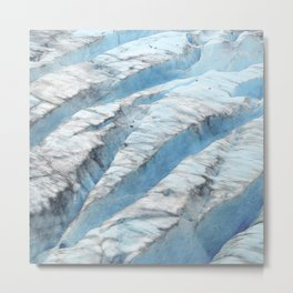 Don't Fall! Alaskan Glacier's Dangerous Blue Ice Crevasses Metal Print
