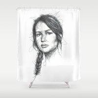 katniss Shower Curtains featuring Katniss Everdeen Scribbles (Pen Art) by Aeriz85