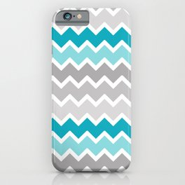 Turquoise Teal Blue Gray Chevron iPhone Case