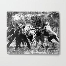 College Football Art, Black And White Metal Print