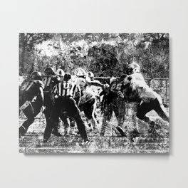 College Football Art, Black And White Metal Print