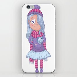 Cute anime girl in tutu and winter clothes with owl. Cartoon character iPhone Skin
