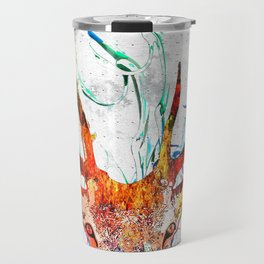 Red Deer Watercolor Grunge Travel Mug
