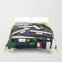 tape Duvet Covers featuring Mixed-tape by Vivian Fortunato