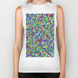 Colorful Daisies. Vibrant Colorful Pattern With Many Flowers Biker Tank