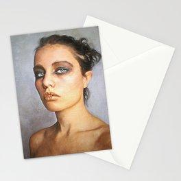 ' Sorrow '  classic digital oil emotive lady portrait painting   Stationery Cards