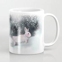 rabbit Mugs featuring White Rabbit by Ben Geiger