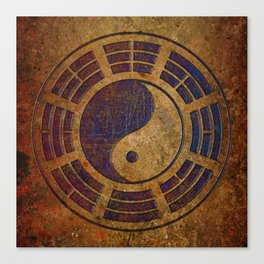 Purple Yin Yang Sign on Granite Canvas Print