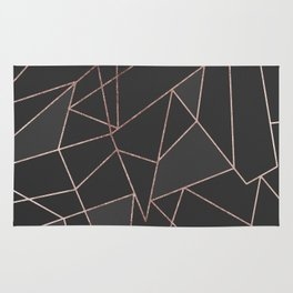 Chic Rose Gold Geometric Outline on Black Charcoal Rug