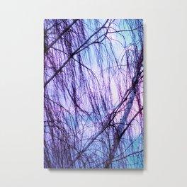 Black Trees Periwinkle Lavender Sky Metal Print
