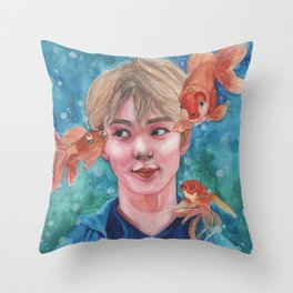 Just Keep Swimming (Nautical Dreams of Innocence) Throw Pillow