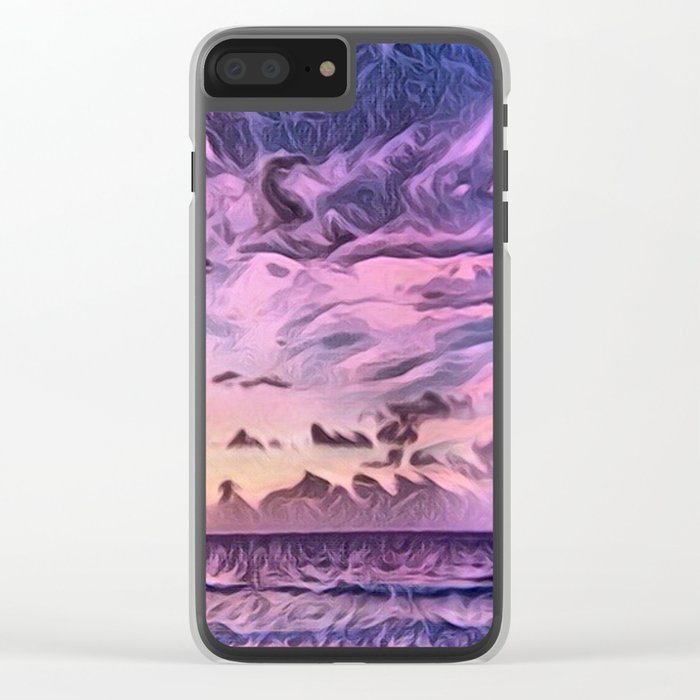 Hawaii Pacific Ocean Romantic Sunset (Painting) Clear iPhone Case