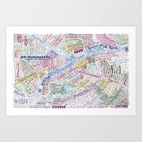 literary Art Prints featuring St. Petersburg Literary Map by Ilya Merenzon
