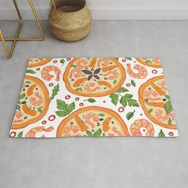 Pizza Vegetables Pattern For Pizza Lovers Rug