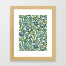 Blue and Green Paisley Framed Art Print