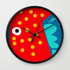 Red Fish illustration for kids Wall Clock