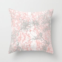 Modern blush pink gray stylish marble Throw Pillow