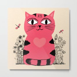 Bright Eyed Pink Heart Kitty In The Flower Garden Metal Print