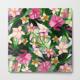 Vibrant Tropical Floral Abstract Metal Print