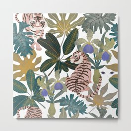 Pattern with tigers and leaves Metal Print