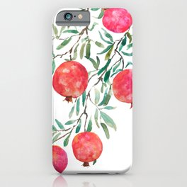 red pomegranate watercolor iPhone Case