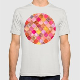 Hot Pink, Gold, Tangerine & Taupe Decorative Moroccan Tile Pattern T-shirt