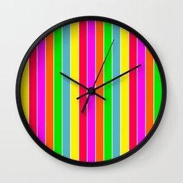 Neon Hawaiian Rainbow Deck Chair Stripes Wall Clock
