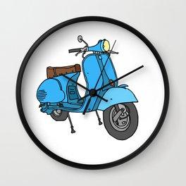 Blue motor scooter (vespa) Wall Clock