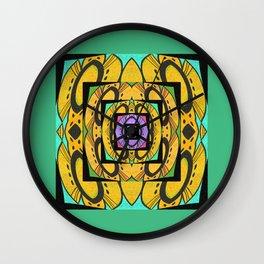 Art Deco Retro Floral Geometric Wall Clock